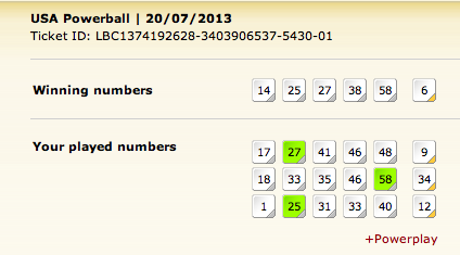 USA Powerball winning numbers
