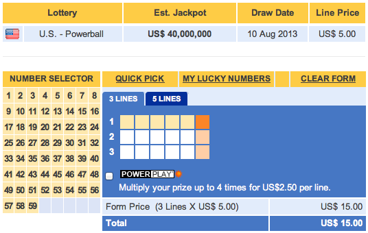 Online Powerball Ticket Prices