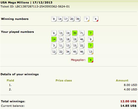 my mega millions lottery results
